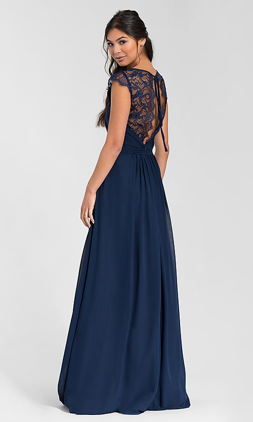 Image of Hailey Paige long bridesmaid dress with lace. Style: HYP-5600 Front Image