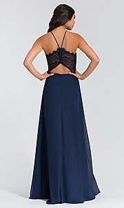 Image of long lace-bodice bridesmaid dress by Hailey Paige. Style: HYP-5715 Detail Image 3