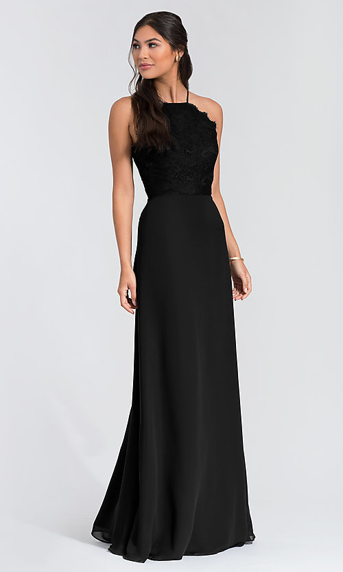 Image of long lace-bodice bridesmaid dress by Hailey Paige. Style: HYP-5715 Detail Image 6