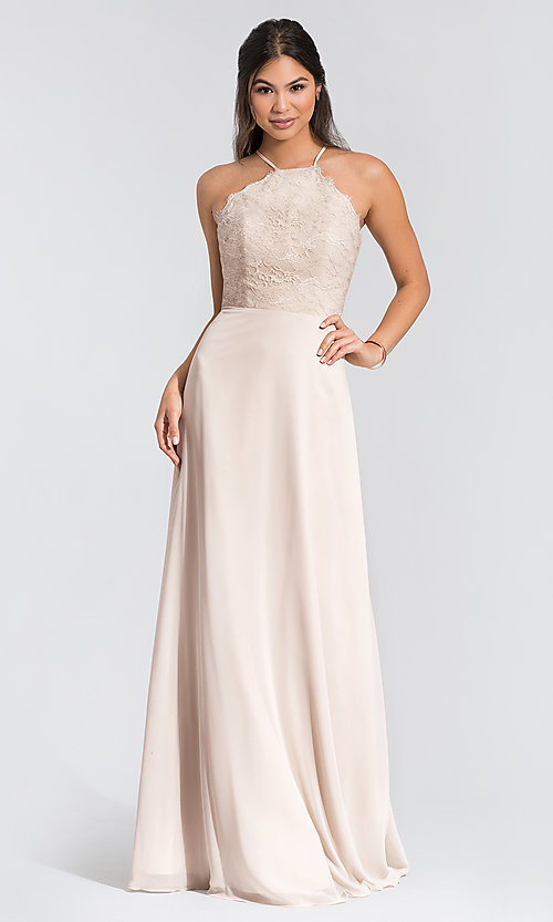 Image of long lace-bodice bridesmaid dress by Hailey Paige. Style: HYP-5715 Detail Image 5