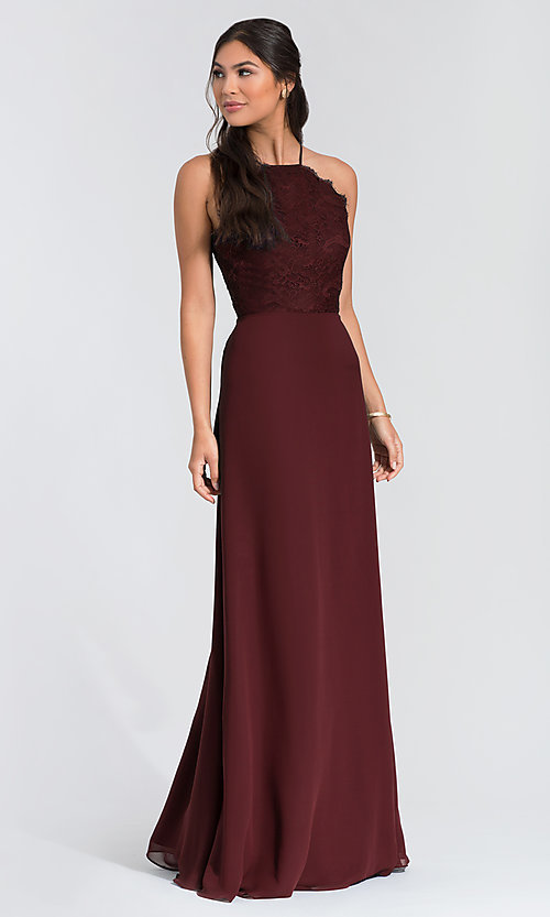 Image of long lace-bodice bridesmaid dress by Hailey Paige. Style: HYP-5715 Front Image