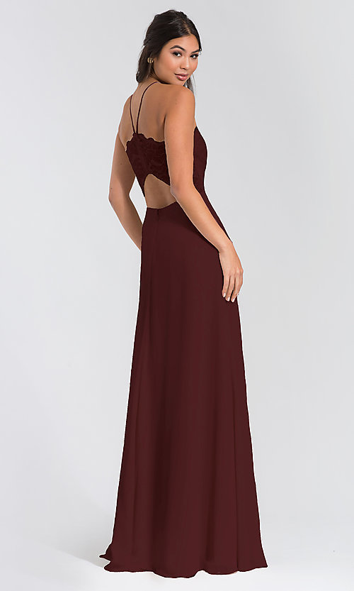 Image of long lace-bodice bridesmaid dress by Hailey Paige. Style: HYP-5715 Back Image