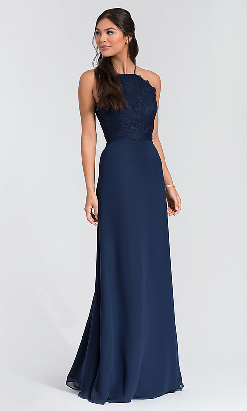 Image of long lace-bodice bridesmaid dress by Hailey Paige. Style: HYP-5715 Detail Image 1