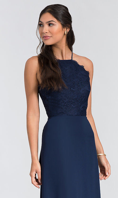 Image of long lace-bodice bridesmaid dress by Hailey Paige. Style: HYP-5715 Detail Image 2