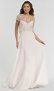 Image of strapless long formal dress with removable jacket. Style: HYP-5621 Detail Image 2