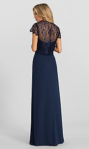 Image of strapless long formal dress with removable jacket. Style: HYP-5621 Back Image