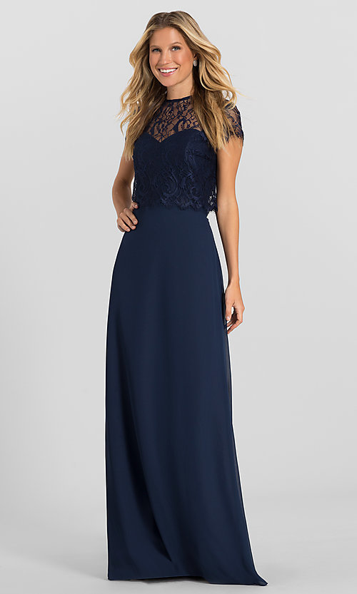 Image of strapless long formal dress with removable jacket. Style: HYP-5621 Front Image