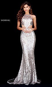 Long Open-Back Sequin Prom Dress with Cut-Outs