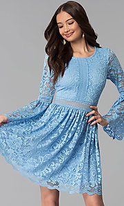 Image of short lace party dress with long bell sleeves. Style: MY-4983AY1D Front Image