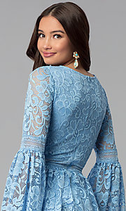 Image of short lace party dress with long bell sleeves. Style: MY-4983AY1D Detail Image 2