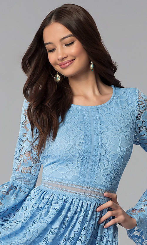 Image of short lace party dress with long bell sleeves. Style: MY-4983AY1D Detail Image 1