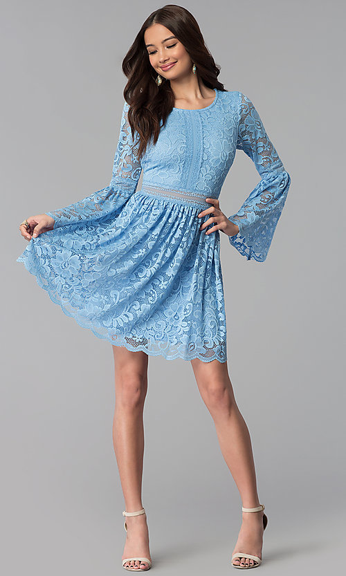 Image of short lace party dress with long bell sleeves. Style: MY-4983AY1D Detail Image 3
