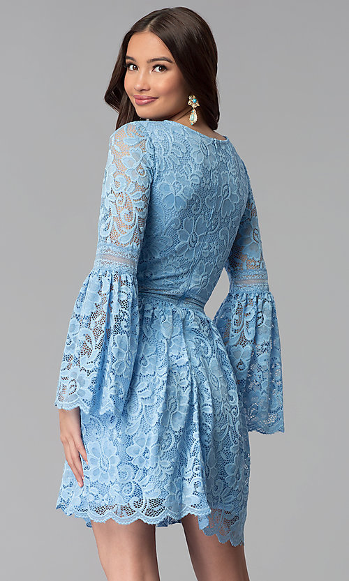 Image of short lace party dress with long bell sleeves. Style: MY-4983AY1D Back Image