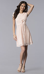 Image of lace short-sleeve graduation dress in blush pink. Style: MY-5004AM1D Detail Image 3