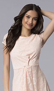 Image of lace short-sleeve graduation dress in blush pink. Style: MY-5004AM1D Detail Image 1