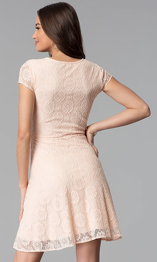Image of lace short-sleeve graduation dress in blush pink. Style: MY-5004AM1D Back Image