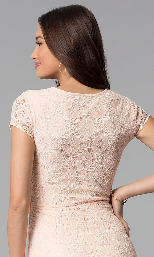 Image of lace short-sleeve graduation dress in blush pink. Style: MY-5004AM1D Detail Image 2