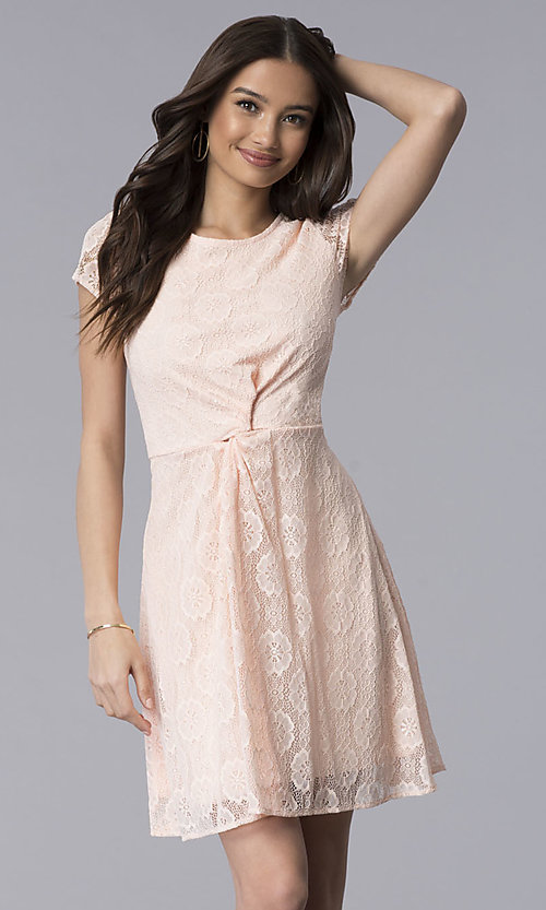Image of lace short-sleeve graduation dress in blush pink. Style: MY-5004AM1D Front Image