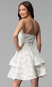 Image of ivory nude strapless tiered-skirt short party dress. Style: MY-5037DV1P Back Image