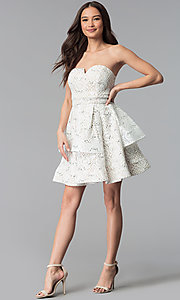 Image of ivory nude strapless tiered-skirt short party dress. Style: MY-5037DV1P Detail Image 3