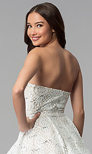 Image of ivory nude strapless tiered-skirt short party dress. Style: MY-5037DV1P Detail Image 2