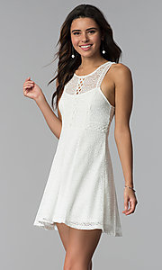 Image of short ivory lace grad dress with keyhole back. Style: MY-9804DX1D Front Image
