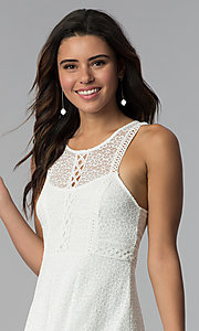 Image of short ivory lace grad dress with keyhole back. Style: MY-9804DX1D Detail Image 1