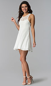 Image of short ivory lace grad dress with keyhole back. Style: MY-9804DX1D Detail Image 3