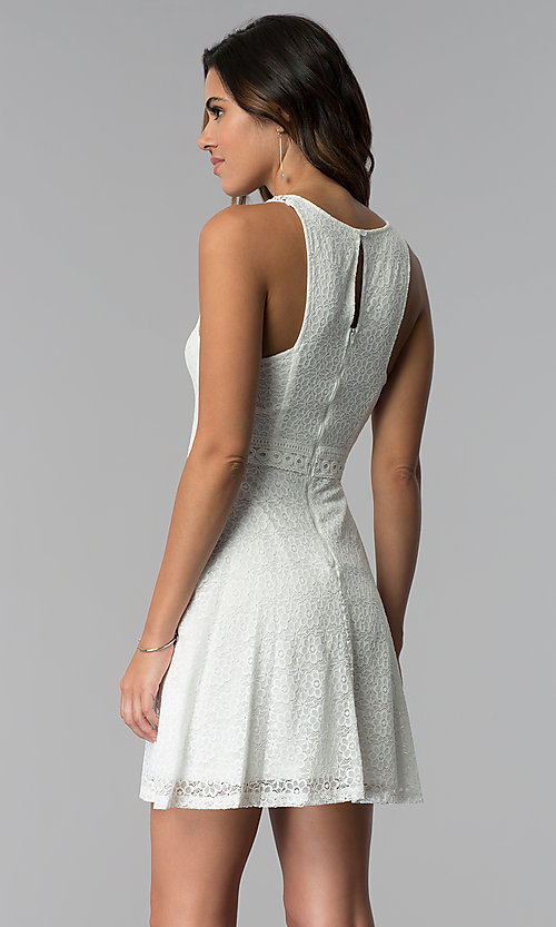 Image of short ivory lace grad dress with keyhole back. Style: MY-9804DX1D Back Image