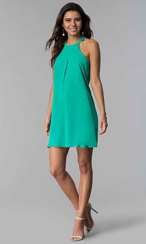 Mint Green Short Shift Wedding Guest Dress - PromGirl
