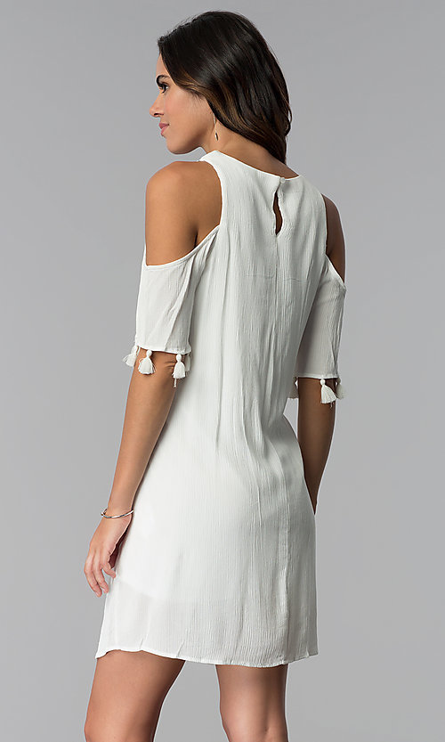 Image of ivory short cold-shoulder shift graduation dress. Style: MY-9825GZ1D Back Image