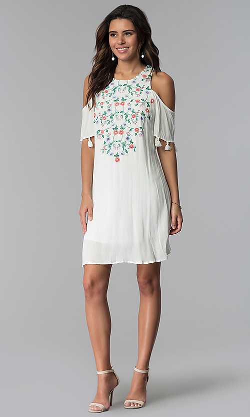 Image of ivory short cold-shoulder shift graduation dress. Style: MY-9825GZ1D Detail Image 2