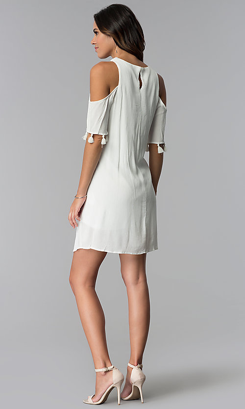 Image of ivory short cold-shoulder shift graduation dress. Style: MY-9825GZ1D Detail Image 3