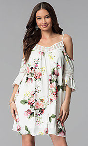 Image of ivory short 3/4-sleeve cold-shoulder shift dress. Style: MY-9352XX1D Front Image