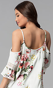 Image of ivory short 3/4-sleeve cold-shoulder shift dress. Style: MY-9352XX1D Detail Image 2