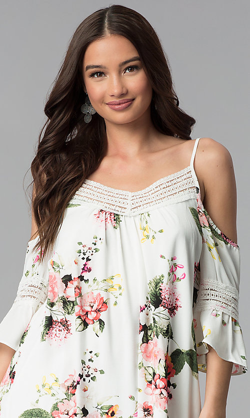 Image of ivory short 3/4-sleeve cold-shoulder shift dress. Style: MY-9352XX1D Detail Image 1