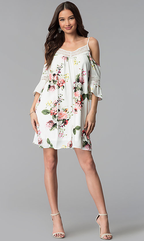 Image of ivory short 3/4-sleeve cold-shoulder shift dress. Style: MY-9352XX1D Detail Image 3