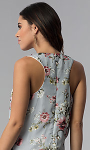 Image of short floral-print navy party dress with pockets. Style: SS-JA92462CC95 Detail Image 2