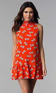Image of short poppy red floral-print casual party dress. Style: SS-JA89865GPD Front Image