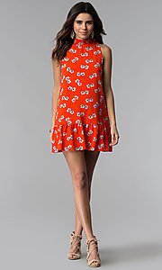 Image of short poppy red floral-print casual party dress. Style: SS-JA89865GPD Detail Image 3
