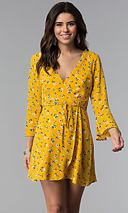 Image of short floral-print wrap party dress with sleeves. Style: SS-JA95781GQY Front Image