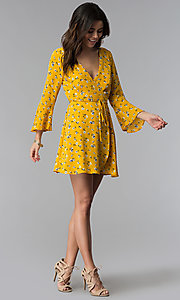 Image of short floral-print wrap party dress with sleeves. Style: SS-JA95781GQY Detail Image 3