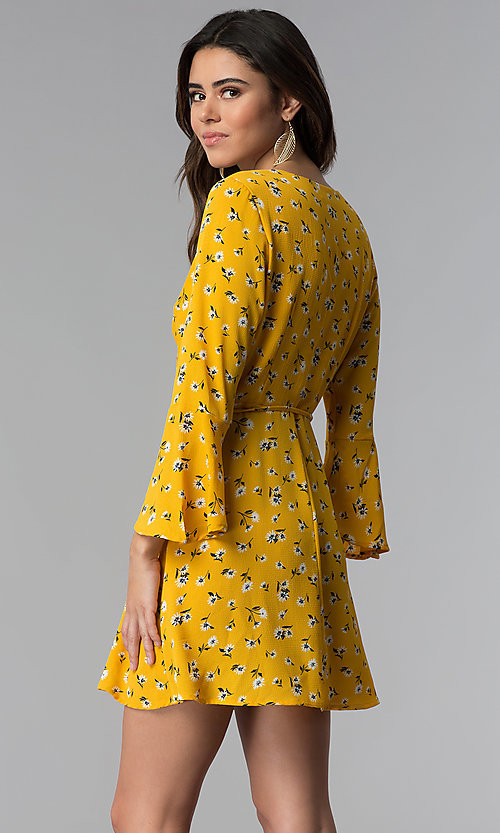 Image of short floral-print wrap party dress with sleeves. Style: SS-JA95781GQY Back Image