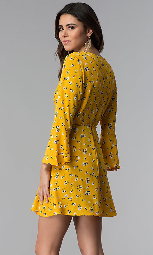 Image of short floral-print wrap party dress with sleeves. Style: SS-JA95781GQY Detail Image 2