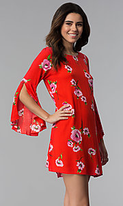 Image of red long-sleeve floral-print short shift party dress. Style: SS-JA96551L7C Front Image