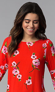Image of red long-sleeve floral-print short shift party dress. Style: SS-JA96551L7C Detail Image 1