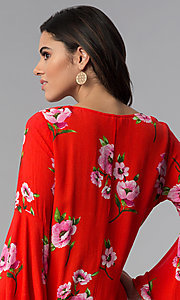Image of red long-sleeve floral-print short shift party dress. Style: SS-JA96551L7C Detail Image 2
