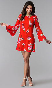 Image of red long-sleeve floral-print short shift party dress. Style: SS-JA96551L7C Detail Image 3