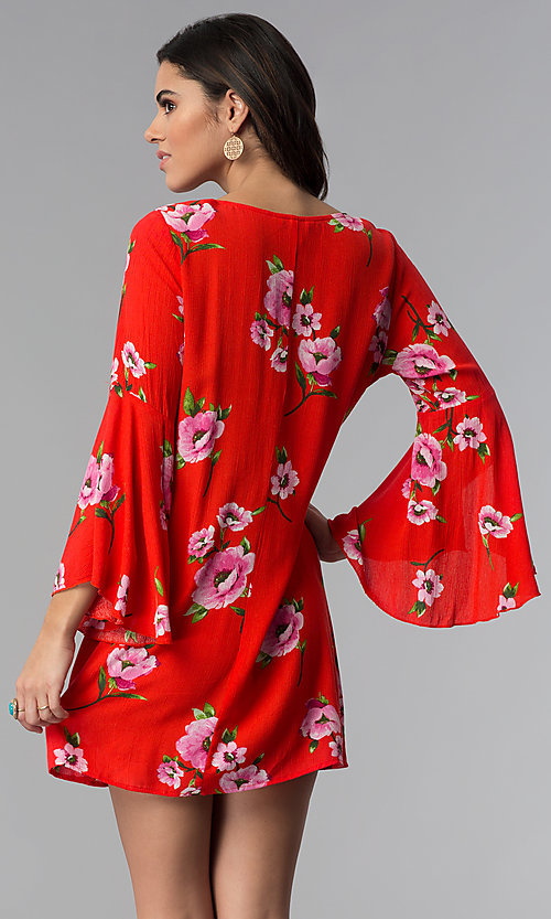 Image of red long-sleeve floral-print short shift party dress. Style: SS-JA96551L7C Back Image