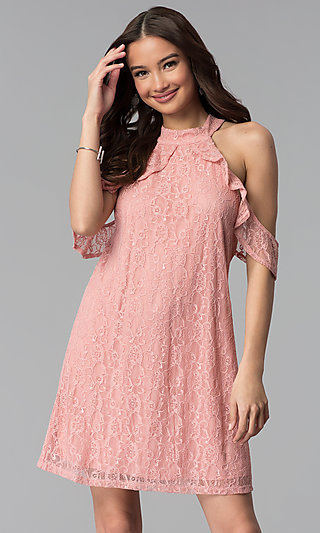 Ruffled Cold-Shoulder Shift Party Dress in Pink Lace